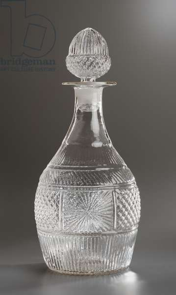 Decanter and stopper, probably Boston and Sandwich Glass Works, c.1825-40 (mold-blown glass)