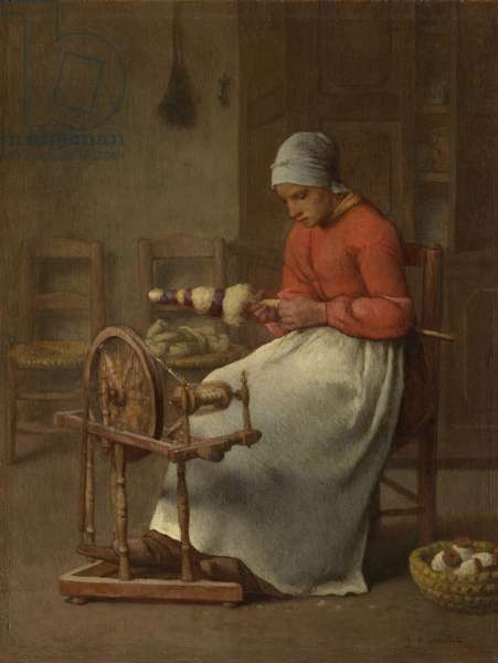 Woman Spinning, c.1855-60 (oil on panel)