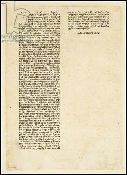 Verso of The Apocalypse, Saint Michael Fighting the Dragon, 1497 (woodcut)