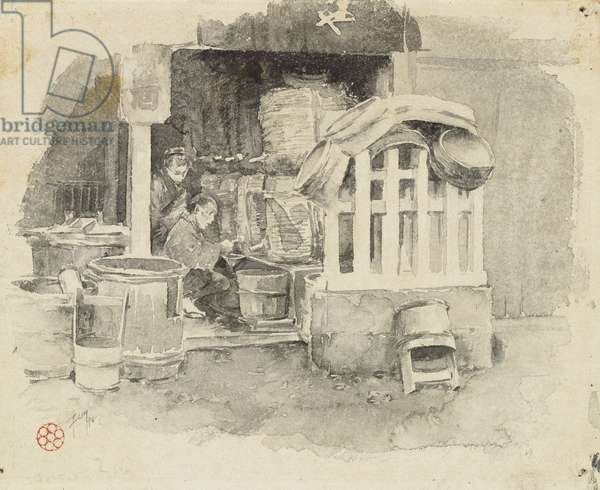 Where Sake is Sold, 1890 (brush & black ink with gray wash on paper)