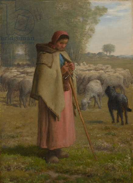 Young Girl Guarding her Sheep, c.1860-–62 (oil on panel)