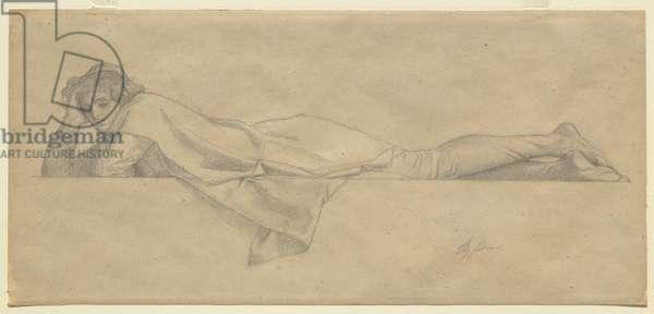 Study for 'Le Poete Florentin', c.1853 (black chalk on buff wove paper)