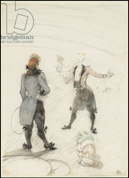 At the Circus: The Dog Trainer, 1899 (black & colour chalks over graphite, on white wove paper)