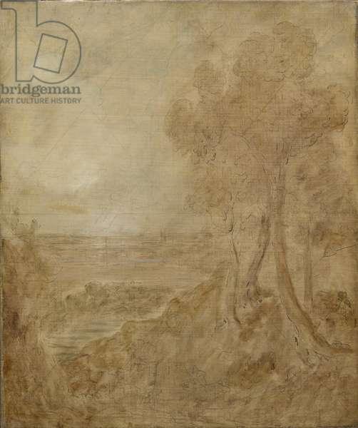 Sketch for 'Dedham Vale', c.1827 (oil, ink & graphite on canvas)