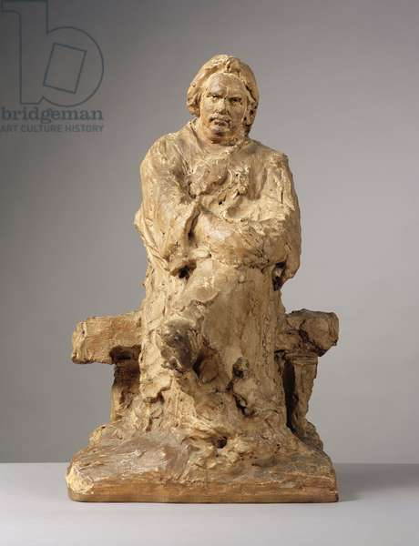 Study for the Monument to Balzac, 1898 (unfired clay on a shaped wood modelling board)