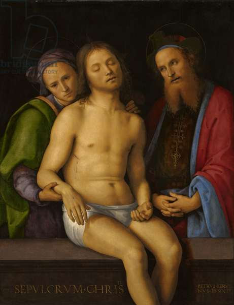 Dead Christ with Joseph of Arimathea and Nicodemus (Sepulchrum Christi), c.1494-98 (oil & tempera on panel, transferred to fabric on panel)