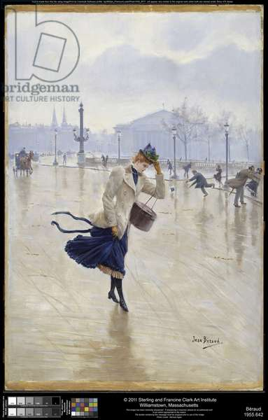 Windy Day, Place de la Concorde, c.1890 (oil on panel)