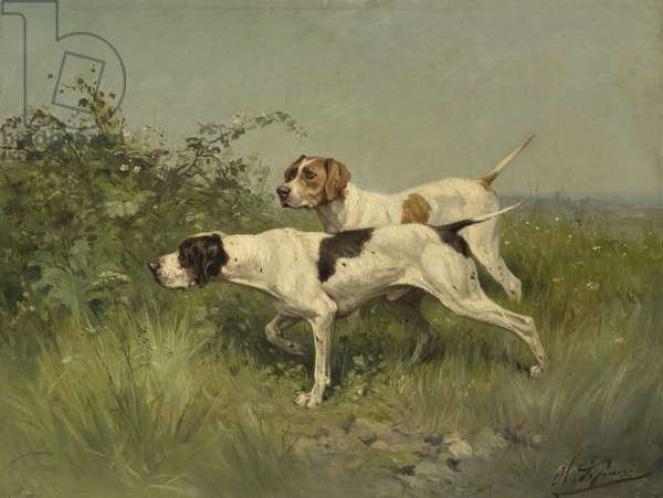 Two Pointers, c.1850-–97 (oil on canvas)