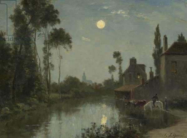 Moonlit River, c.1866-–70 (oil on canvas)