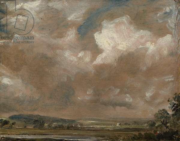 Harnham Ridge, Salisbury, c.1829 (oil on beige wove paper, mounted on canvas)