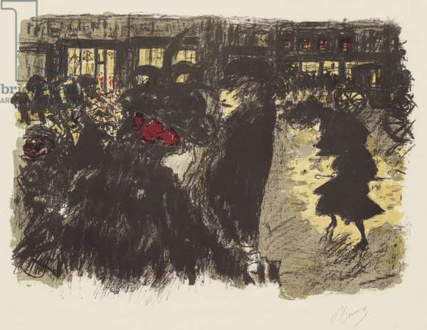 Some Aspects of Life in Paris, 7: The Square in the Evening, c.1898 (litho in yellow, red, violet, greenish gray on wove paper)