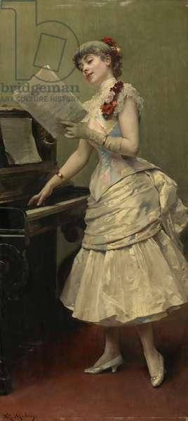 The Singer, c.1880 (oil on panel)