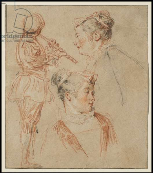 Studies of a Flutist and Two Women, c.1717 (red, black & white chalk on buff paper)