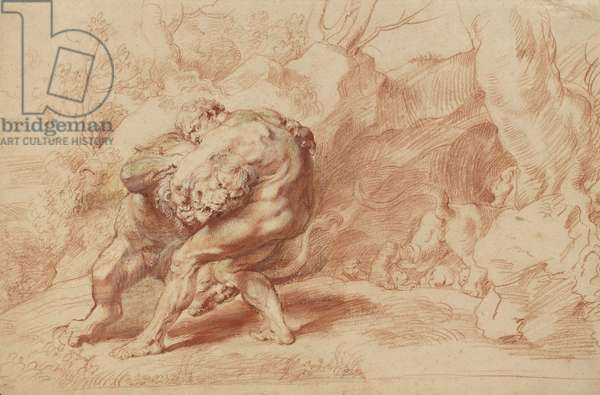 Hercules Strangling the Nemean Lion, c.1620 (red, yellow & black chalk, brush & red ink & gouache on paper)