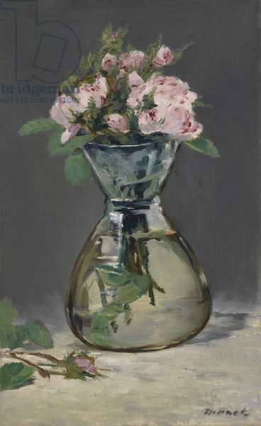 Moss Roses in a Vase, 1882 (oil on canvas)