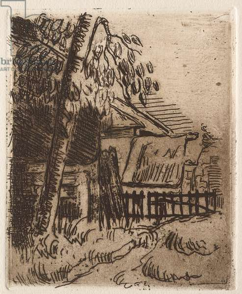 Landscape in Auvers, 1873 (etching on paper)