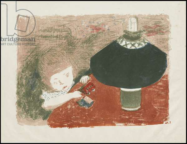 Child with Lamp, 1896 (litho in green, blue, pink, red, beige-pink on China paper)