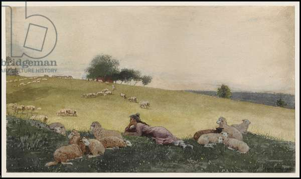 Shepherdess of Houghton Farm, 1878 (w/c & graphite with additions in ink & gouache on cream wove paper)
