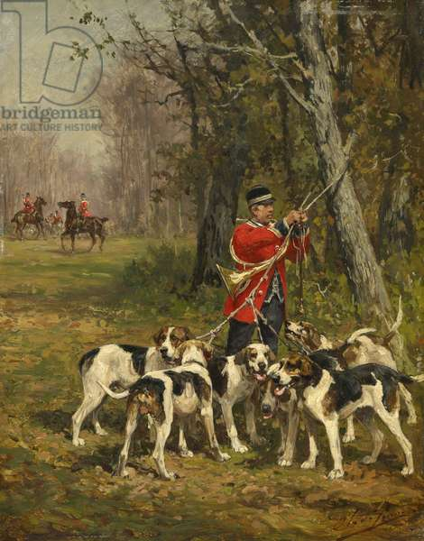 Hunting Hounds, c.1850-97 (oil on panel)