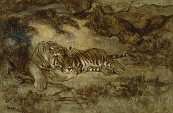 Tiger at Rest, c.1850-70 (oil on paper mounted on canvas)