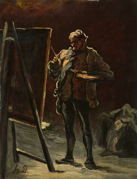 An Artist, c.1870–-75 (oil on canvas, mounted on panel)