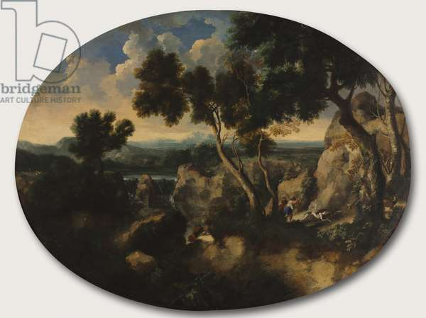 Rocky Landscape with Hunters, c.1635 (oil on canvas)
