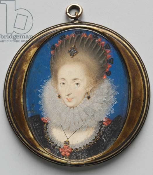 Portrait of Lucy Russell, Countess of Bedford, 1612 (w/c on vellum with gold and silver in original ivory case)