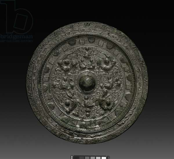 Mirror with Xiwangmu, c.317-400 (bronze)
