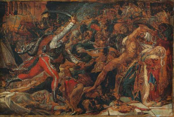 """Sketch for """"The Revolt at Cairo"""", c.1809 (oil on paper, mounted on paper & canvas)"""