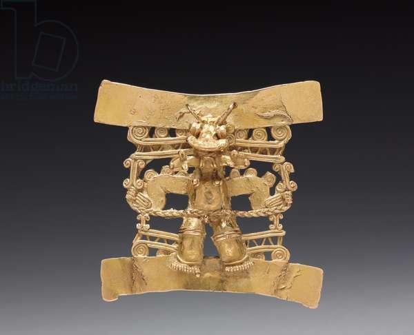 Animal-Headed Figure Pendant, c. 1000-1550 (cast gold)