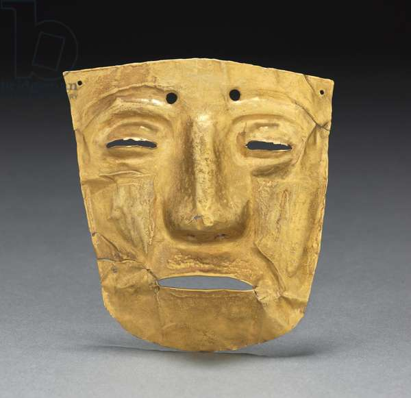 Mask Ornament, c. 700-1550 (hammered and cut gold)