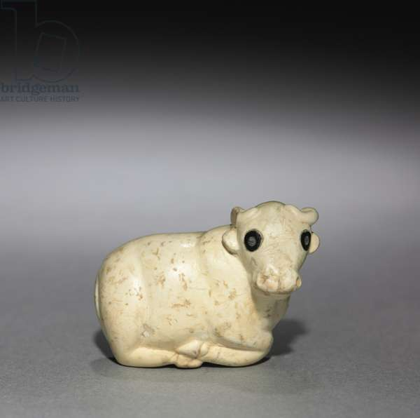 Amulet Seal in the Form of a Bull, c.3250 BC (limestone with black stone inlaid eyes)