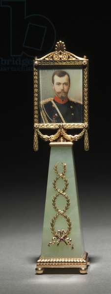 Framed Miniature: Portrait of Czar Nicholas II, firm of Peter Carl Fabergé (1846-1920), miniature painted by Johannes Zehngraf (1857-1908), before 1896 (gold, jade, rubies, gouache, ivory, glass) (see also 499673 & 499674)