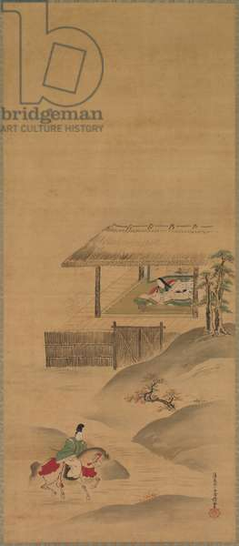 Minamoto no Nakakuni Visits Lady Kogo, Triptych of hanging scrolls, late 1600s (ink and colour on silk)