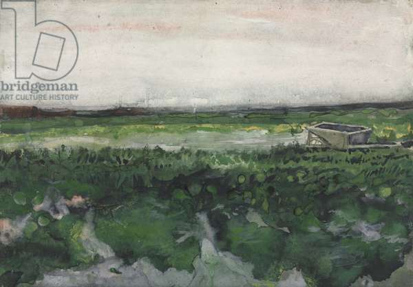 Landscape with Wheelbarrow, 1883 (watercolour and gouache over graphite on wove paper)