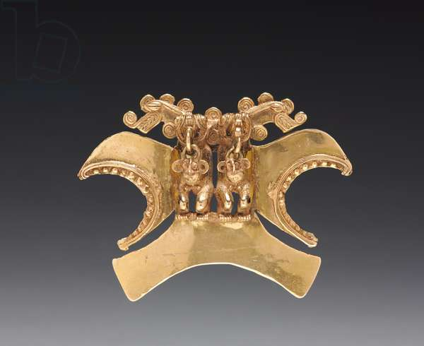 Double Bird-Headed Figure Pendant, c. 1000-1500 (cast and hammered gold)