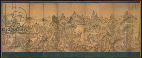 Seven Jeweled Mountain, Shunman, late 1800s (ink and colour on silk)