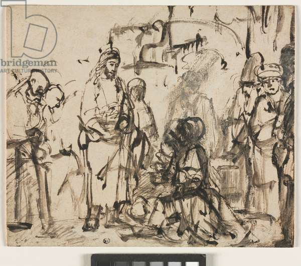 The Meeting of Christ with Martha and Mary after the Death of Lazarus, c.1662-65 (pen & ink with wash and gouache on paper)
