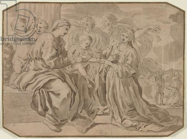 Mystic Marriage of St. Catherine (pen & brown ink and brush and gray and brown wash, over black chalk)
