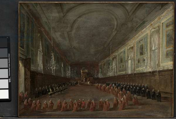 Pope Pius VI Descending the Throne to Take Leave of the Doge in the Hall of SS. Giovanni e Paolo, 1782 and Pontifical Ceremony in SS. Giovanni e Paolo, Venice, 1782, c. 1783 (oil on canvas)