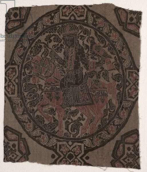 Fragment with Equestrian Falconer King, Iran or Iraq, Abbasid period (lampas weave, silk)