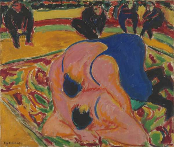 Wrestlers in a Circus, 1909 (oil on canvas)