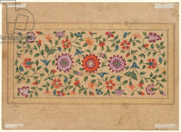 Scrolling Floral Vines, 1755 (opaque watercolor with gold on paper (verso))