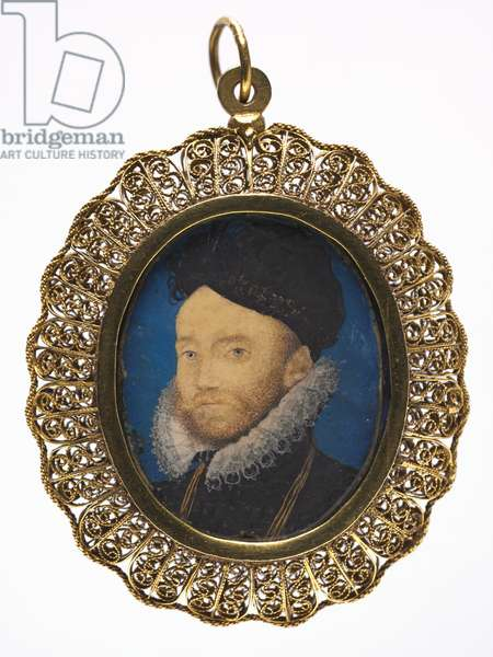 Portrait of a Man, c.1590 (w/c on vellum in a later gilt metal frame)