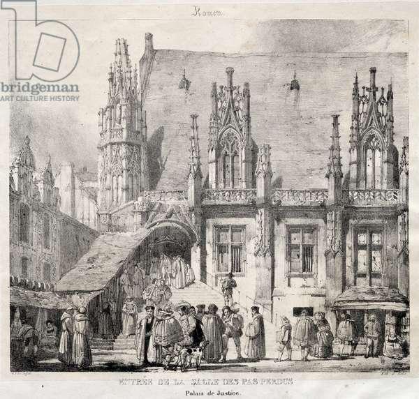 Rouen: Entrée de la Salle des Pas Perdus, Palais du Justice, 1824 (litho)