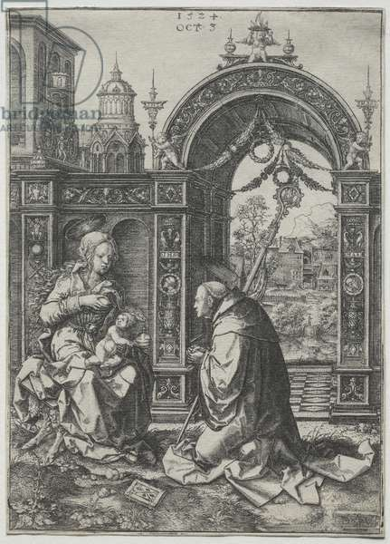 The Vision of St. Bernard, 1524 (engraving)