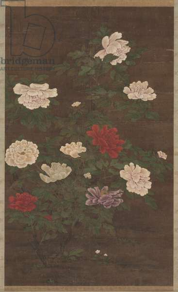 Peonies, hanging scroll, late 1200s (hanging scroll, ink and color on silk)