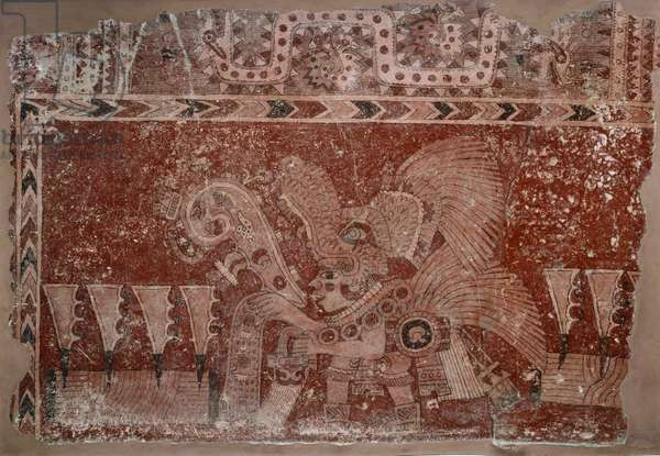 Mural Fragment with Elite Male and Maguey Cactus Leaves, Teotihuacán style, Classic Period, 500-550 (fresco)