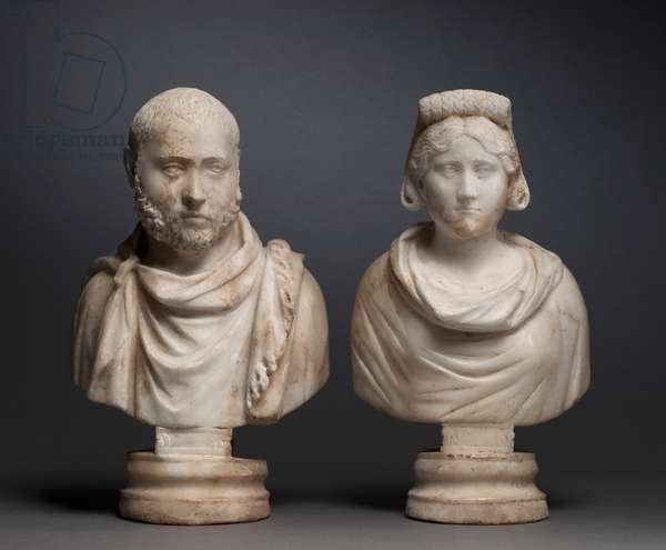Portrait Bust of an Aristocratic Man and Portrait Bust of an Aristocratic Woman, 280-290 (marble)