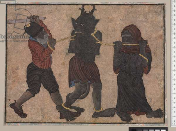 Demon in Chains, c.1453 (opaque w/c & gold on paper)